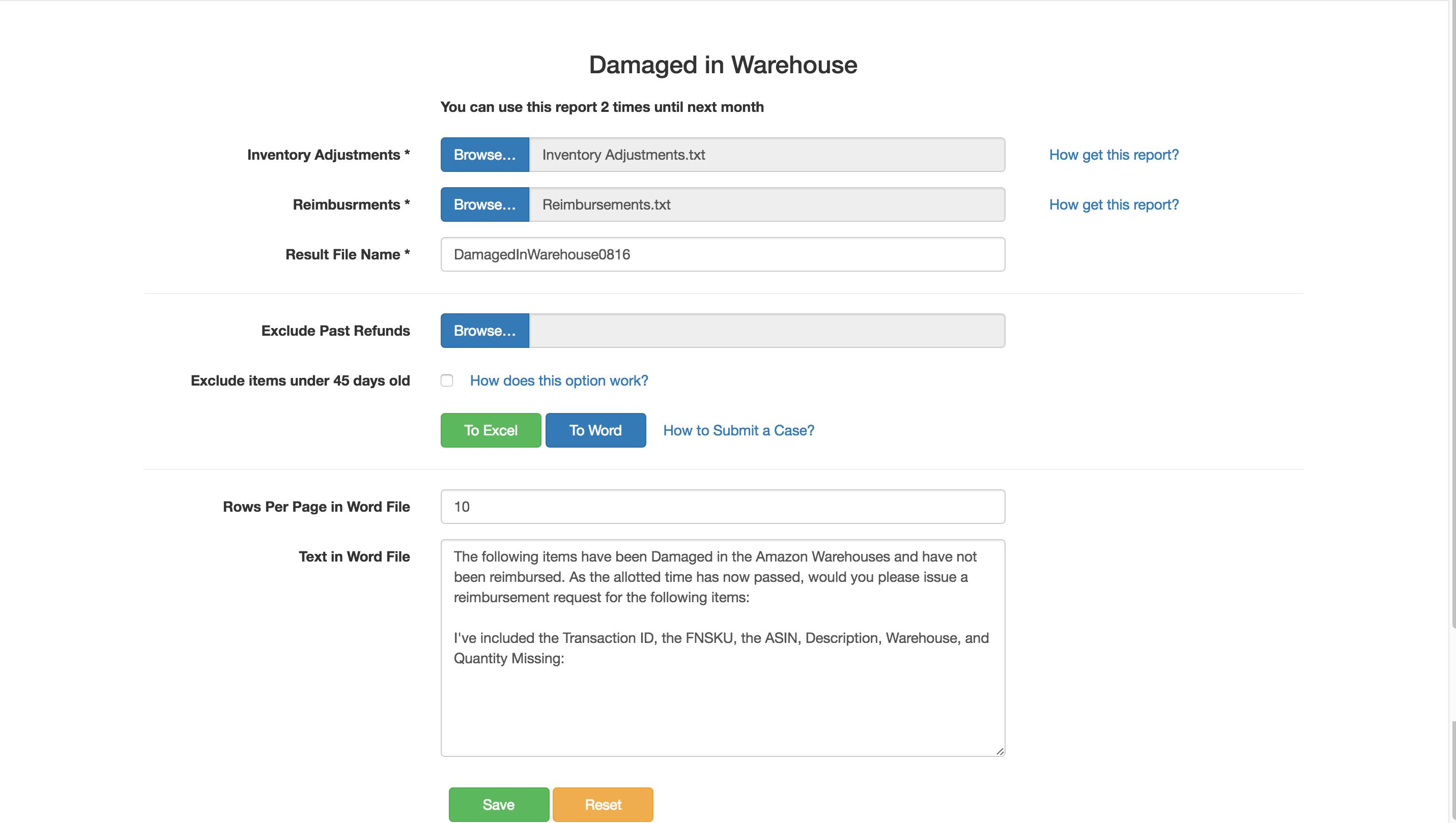Damaged in Warehouse