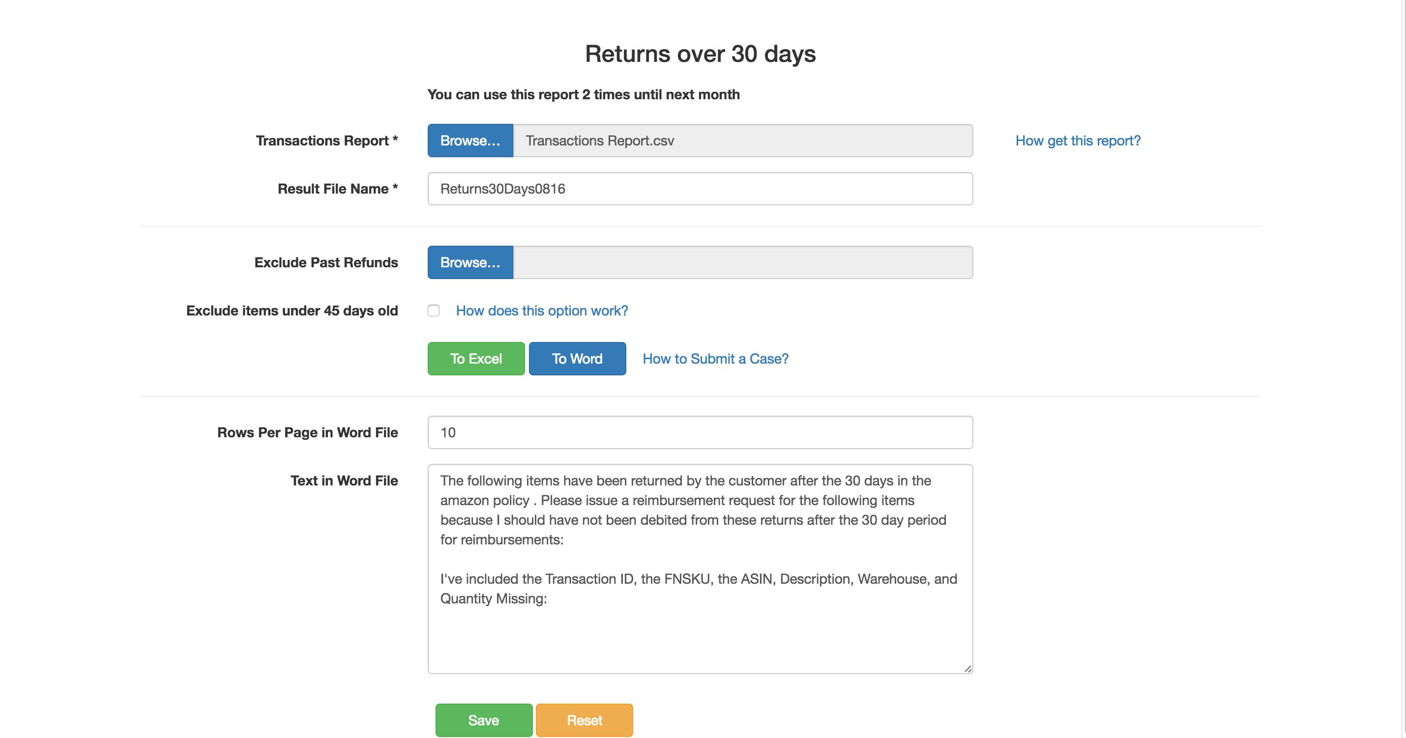 Returns Over 30 Days